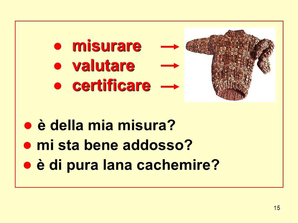 15 misurare valutare certificare misurare valutare certificare è della mia misura? mi sta bene addosso? è di pura lana cachemire?
