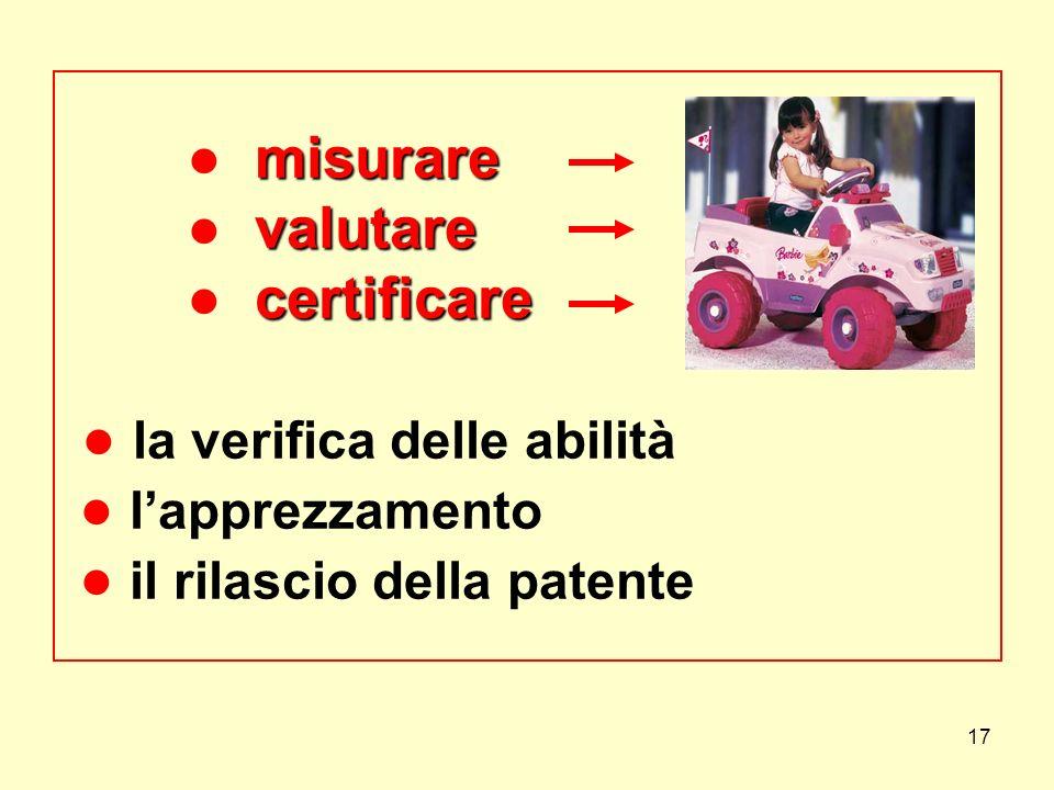 17 misurare valutare certificare misurare valutare certificare la verifica delle abilità lapprezzamento il rilascio della patente