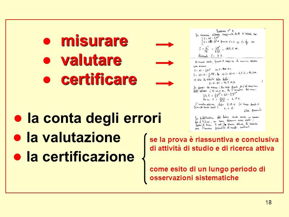 18 misurare valutare certificare misurare valutare certificare la conta degli errori la valutazione la certificazione se la prova è riassuntiva e conc