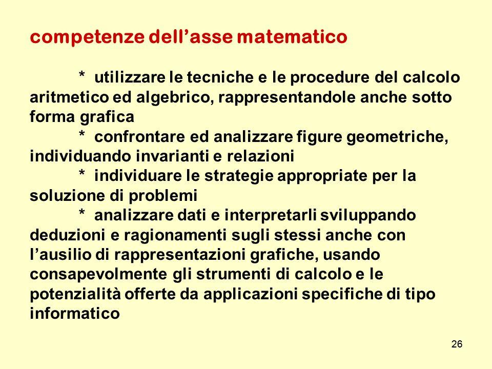 26 competenze dellasse matematico * utilizzare le tecniche e le procedure del calcolo aritmetico ed algebrico, rappresentandole anche sotto forma graf