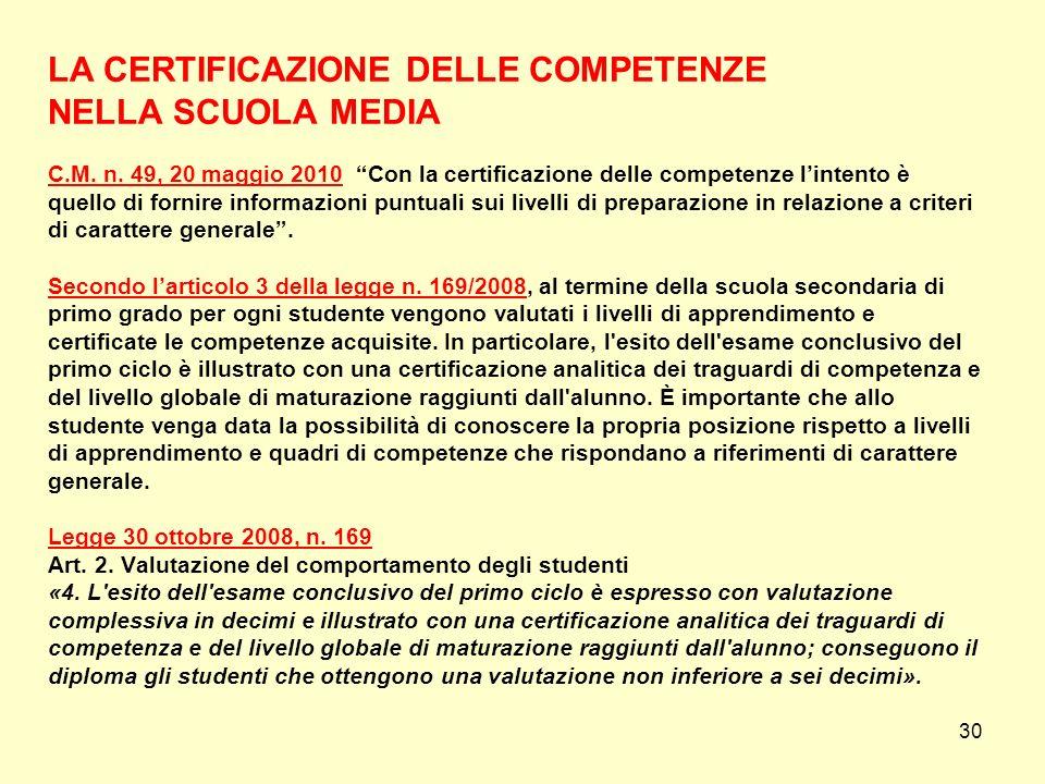 30 LA CERTIFICAZIONE DELLE COMPETENZE NELLA SCUOLA MEDIA C.M. n. 49, 20 maggio 2010 Con la certificazione delle competenze lintento è quello di fornir
