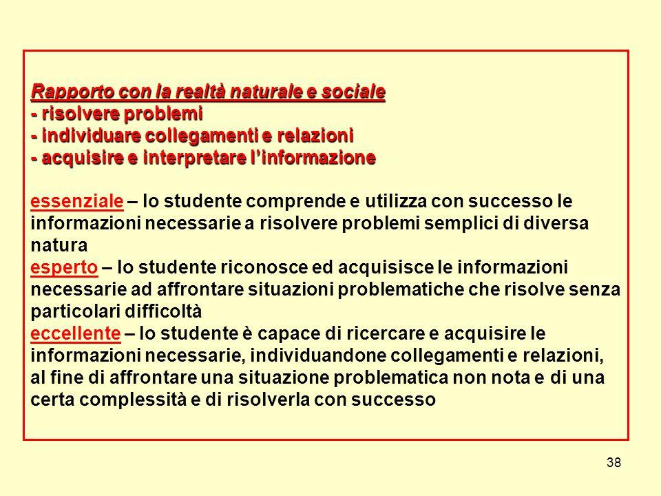 38 Rapporto con la realtà naturale e sociale - risolvere problemi - individuare collegamenti e relazioni - acquisire e interpretare linformazione Rapp