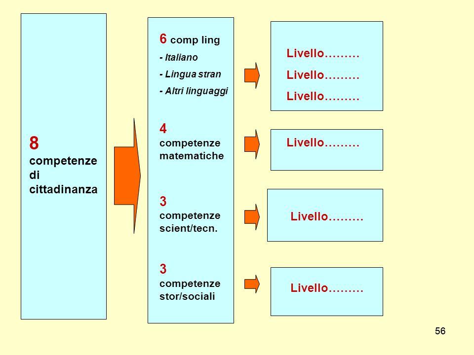 56 8 competenze di cittadinanza Livello……… 6 comp ling - Italiano - Lingua stran - Altri linguaggi 4 competenze matematiche 3 competenze scient/tecn.