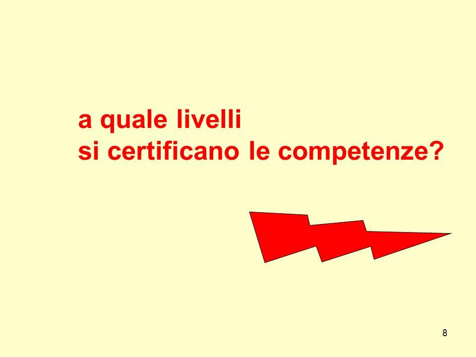 8 a quale livelli si certificano le competenze?