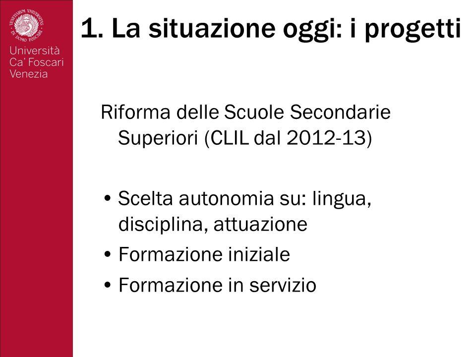Formazione iniziale Regolamento Gelmini ottobre 2010, art.14: si prevede una formazione specifica per insegnanti chiamati ad insegnare attraverso una LS.