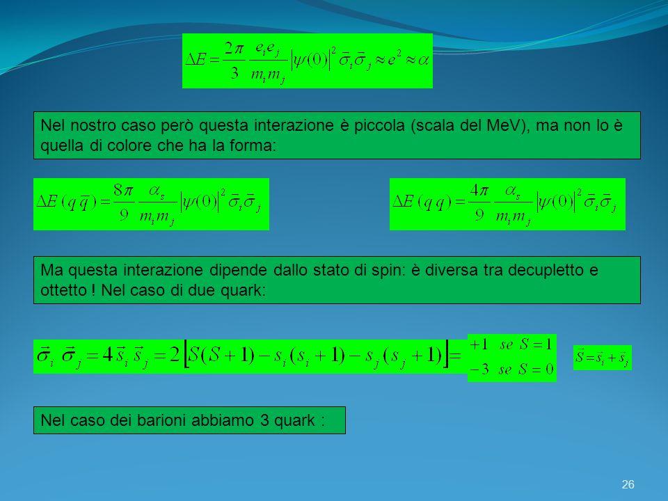 26 Nel nostro caso però questa interazione è piccola (scala del MeV), ma non lo è quella di colore che ha la forma: Ma questa interazione dipende dall