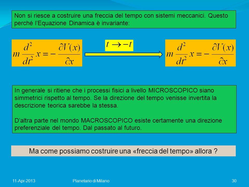 30Planetario di Milano11-Apr-2013 Ma come possiamo costruire una «freccia del tempo» allora ? Non si riesce a costruire una freccia del tempo con sist