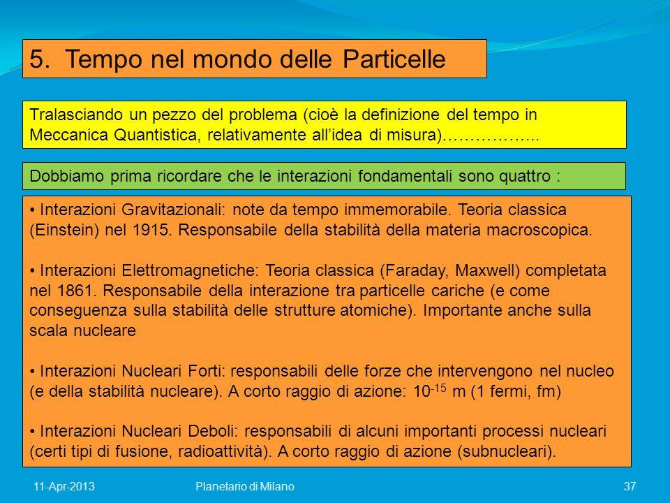 37Planetario di Milano11-Apr-2013 5. Tempo nel mondo delle Particelle Tralasciando un pezzo del problema (cioè la definizione del tempo in Meccanica Q