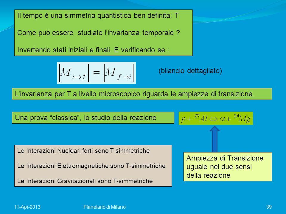 39 Il tempo è una simmetria quantistica ben definita: T Come può essere studiate linvarianza temporale ? Invertendo stati iniziali e finali. E verific