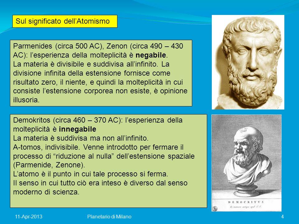 11-Apr-2013 4 Parmenides (circa 500 AC), Zenon (circa 490 – 430 AC): lesperienza della molteplicità è negabile. La materia è divisibile e suddivisa al
