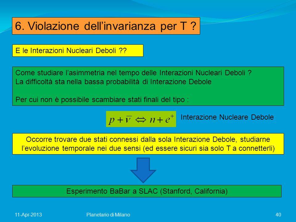 40Planetario di Milano11-Apr-2013 6. Violazione dellinvarianza per T ? E le Interazioni Nucleari Deboli ?? Come studiare lasimmetria nel tempo delle I