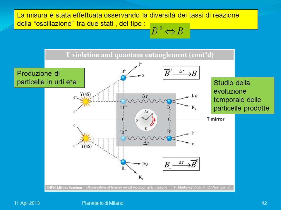 42Planetario di Milano11-Apr-2013 La misura è stata effettuata osservando la diversità dei tassi di reazione della oscillazione tra due stati, del tip