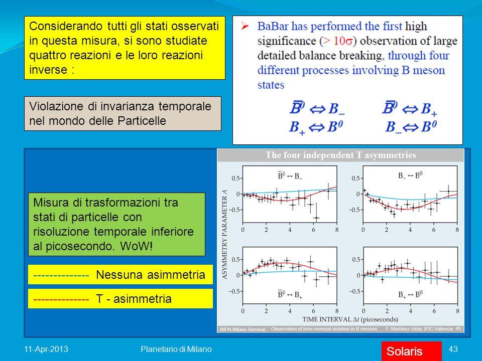 43Planetario di Milano11-Apr-2013 Considerando tutti gli stati osservati in questa misura, si sono studiate quattro reazioni e le loro reazioni invers