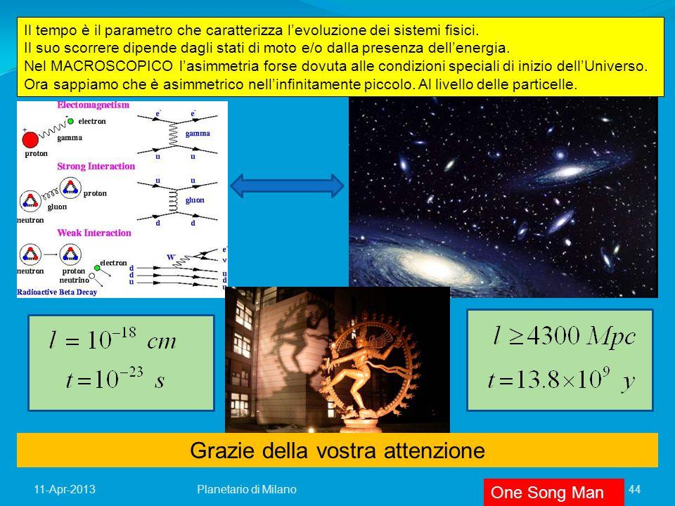11-Apr-201344 Grazie della vostra attenzione Il tempo è il parametro che caratterizza levoluzione dei sistemi fisici. Il suo scorrere dipende dagli st