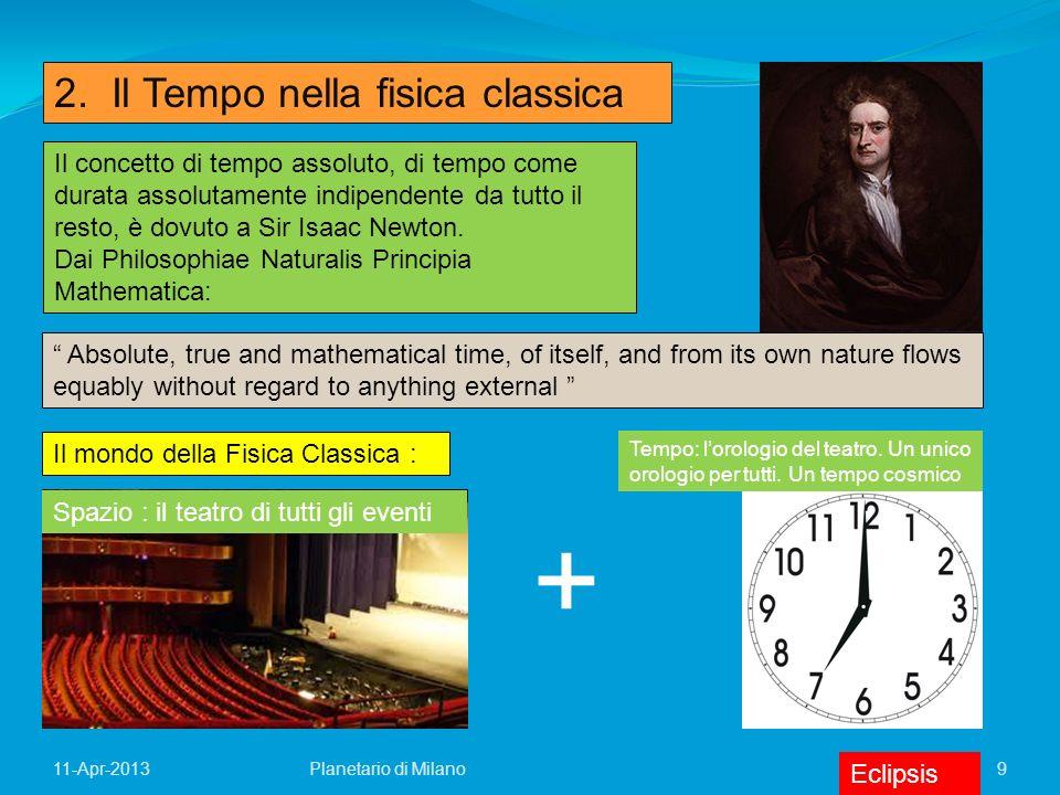 9 11-Apr-2013 2. Il Tempo nella fisica classica Il concetto di tempo assoluto, di tempo come durata assolutamente indipendente da tutto il resto, è do