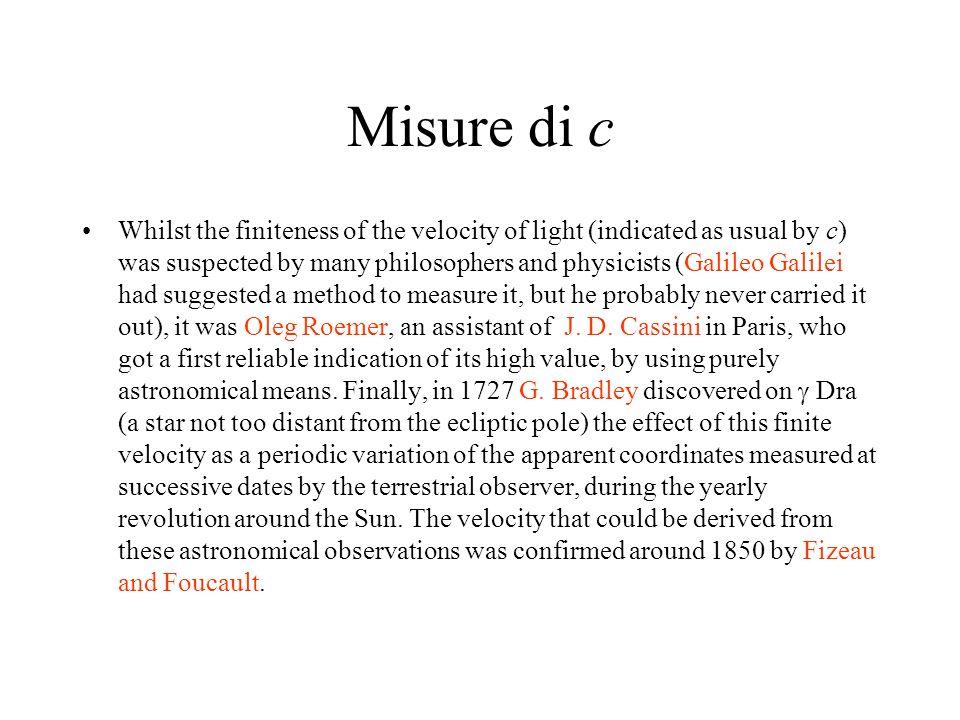 Ottica Fine ottocento 1845-50 – Fizeau inizia misure di laboratorio sulla velocità della luce.