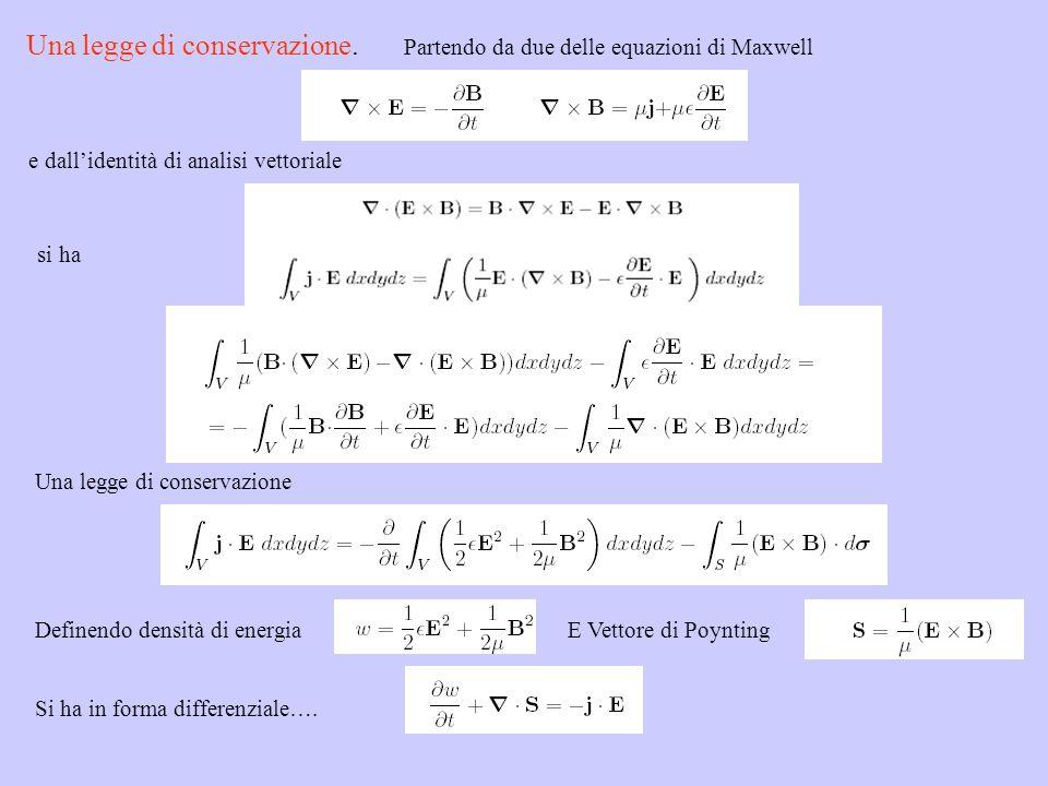 Partendo da due delle equazioni di Maxwell e dallidentità di analisi vettoriale si ha Una legge di conservazione Definendo densità di energiaE Vettore
