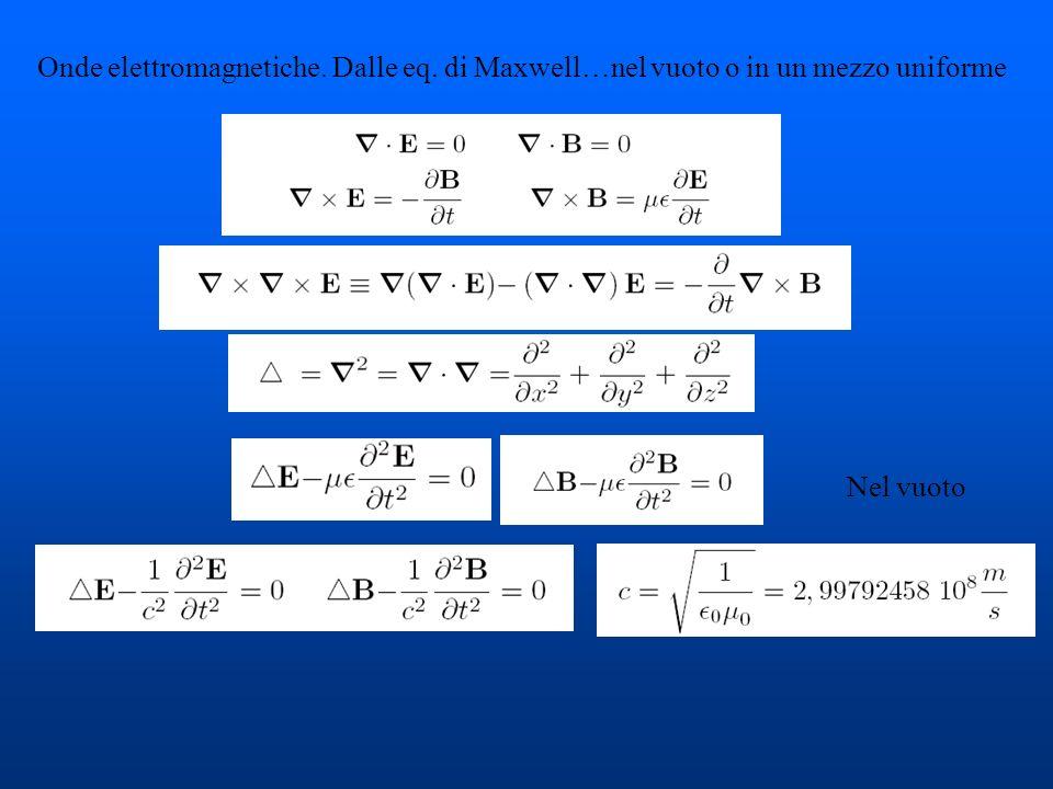 Onde elettromagnetiche. Dalle eq. di Maxwell…nel vuoto o in un mezzo uniforme Nel vuoto