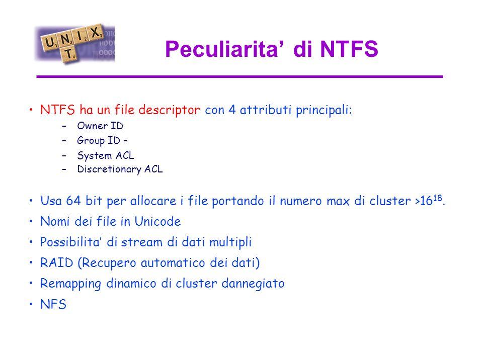 Windows95 vs. NT Windows95 (FAT16/32) Windows NT (NTFS) La differenza sostanziale e` il File System. Il FAT (File Allocation Table) e` solo una tabell