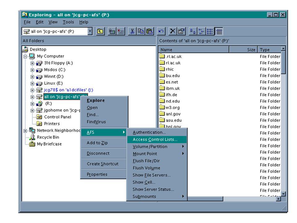Condivisione dei file La condivisione di file puo avvenire tramite: –NFS [NT NFS client per accedere servers Unix [NT NFS server per permette a client Unix di accedere a file sotto NT –AFS [AFS Client for NT per accedere WAN e celle ben integrati in e con buone interfacce a finestre o shell a linea di comando [AFS server for NT n on ancora utilizzati massicciamenete –