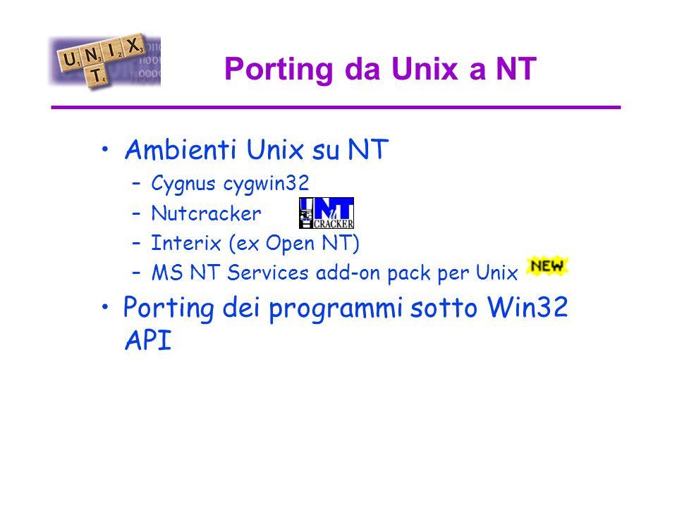 Xsession da NT Exceed permette di avere su NT client/server X11 –Aprire xterm su macchine Unix –Lanciare applicazioni grafiche sotto Unix –Avere una Sessione X sullo schermo del PC