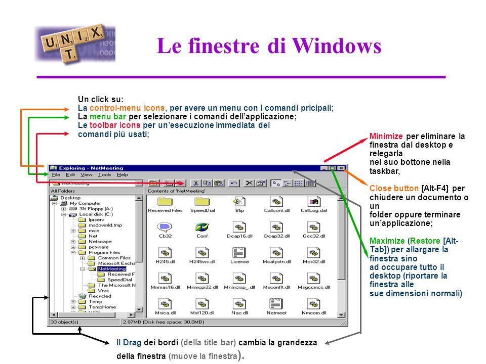 Il Desktop di Windows NT Doppio click Aprendo My Computer appare una finestra che mostra tutte le risorse attaccate o mappate sul computer Network Neighborhood appare una finestra che mostra tutte i computers membri del dominio (o workgroup) del quale il computer fa parte ed una icona che permette laccesso ad altri domini e/o a computers di altri domini in rete.
