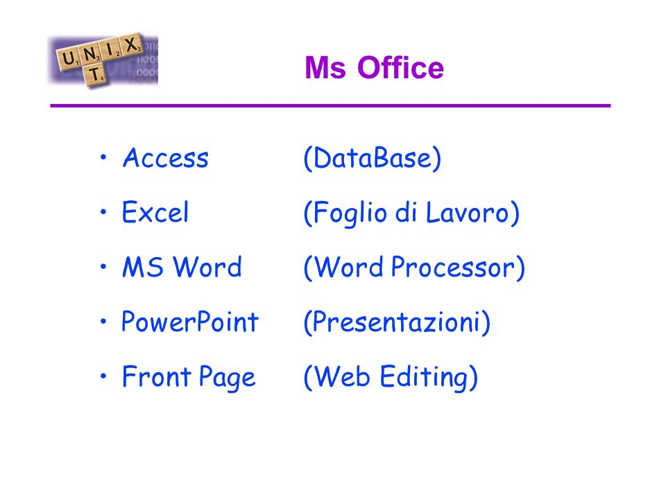 Ms Office Access (DataBase) Excel (Foglio di Lavoro) MS Word (Word Processor) PowerPoint (Presentazioni) Front Page (Web Editing)