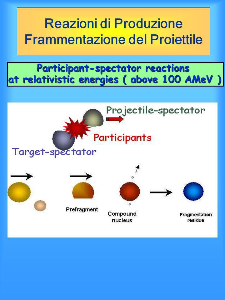 Reazioni di Produzione Frammentazione del Proiettile Participant-spectator reactions at relativistic energies ( above 100 AMeV )