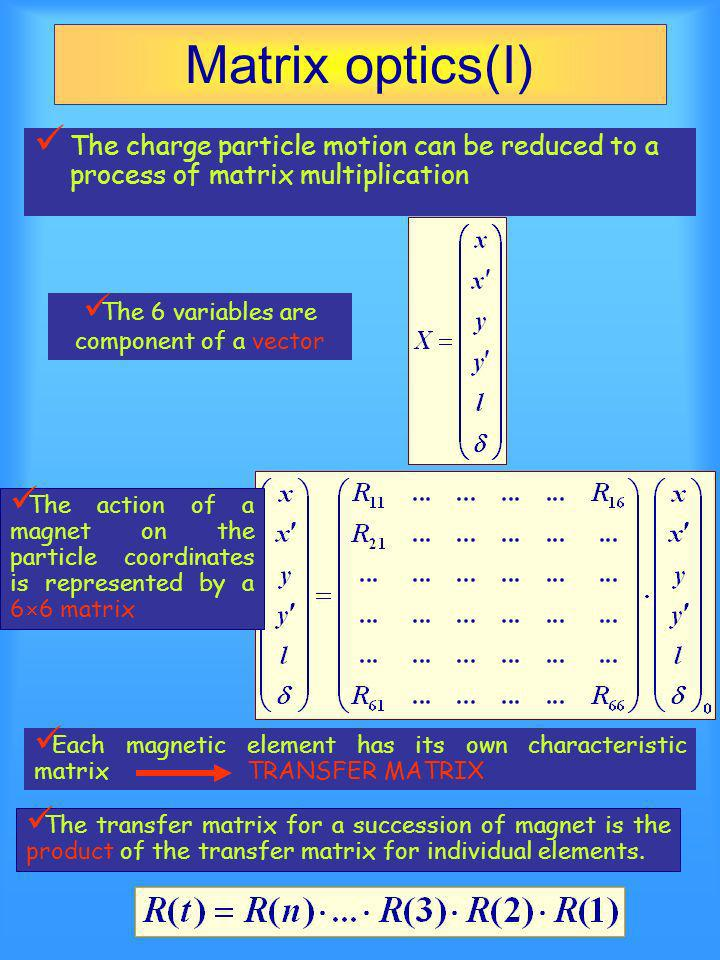 Matrix optics(I) The charge particle motion can be reduced to a process of matrix multiplication The action of a magnet on the particle coordinates is