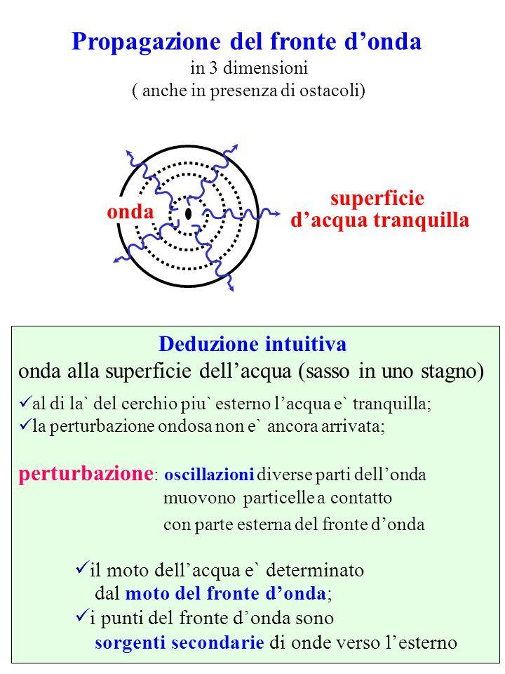 Propagazione del fronte donda in 3 dimensioni ( anche in presenza di ostacoli) Deduzione intuitiva onda alla superficie dellacqua (sasso in uno stagno