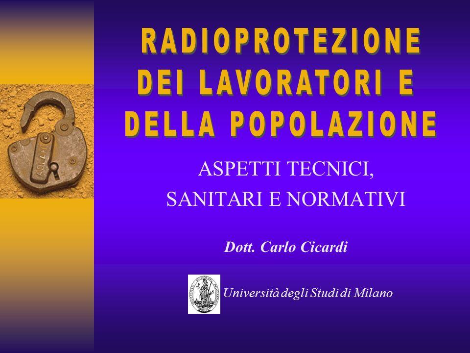 ASPETTI TECNICI, SANITARI E NORMATIVI Dott. Carlo Cicardi Università degli Studi di Milano