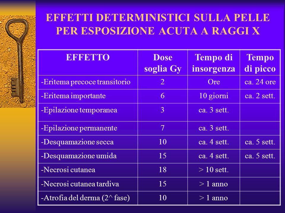EFFETTI DETERMINISTICI SULLA PELLE PER ESPOSIZIONE ACUTA A RAGGI X EFFETTODose soglia Gy Tempo di insorgenza Tempo di picco -Eritema precoce transitorio2Oreca.