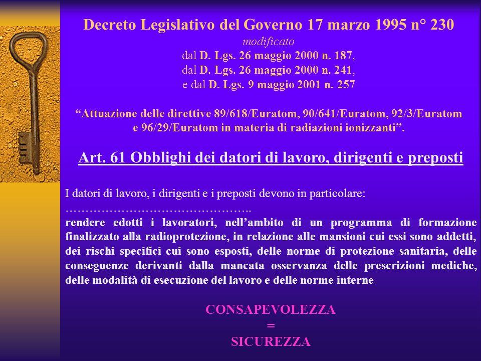 Decreto Legislativo del Governo 17 marzo 1995 n° 230 modificato dal D.