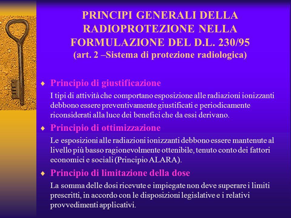 PRINCIPI GENERALI DELLA RADIOPROTEZIONE NELLA FORMULAZIONE DEL D.L.