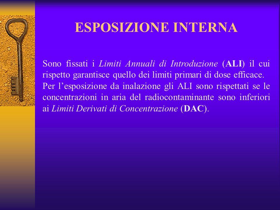 ESPOSIZIONE INTERNA Sono fissati i Limiti Annuali di Introduzione (ALI) il cui rispetto garantisce quello dei limiti primari di dose efficace.