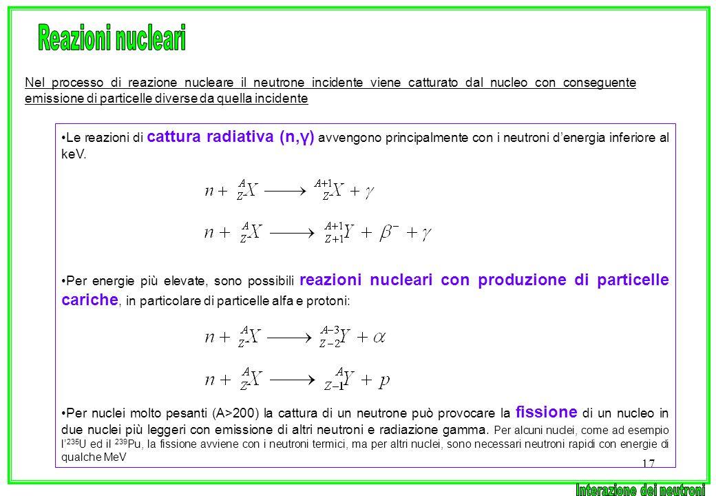 17 Nel processo di reazione nucleare il neutrone incidente viene catturato dal nucleo con conseguente emissione di particelle diverse da quella incide