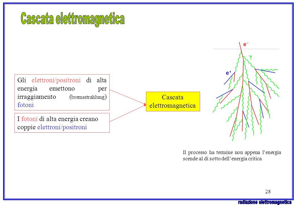 28 Gli elettroni/positroni di alta energia emettono per irraggiamento ( bremsstrahlung ) fotoni I fotoni di alta energia creano coppie elettroni/posit