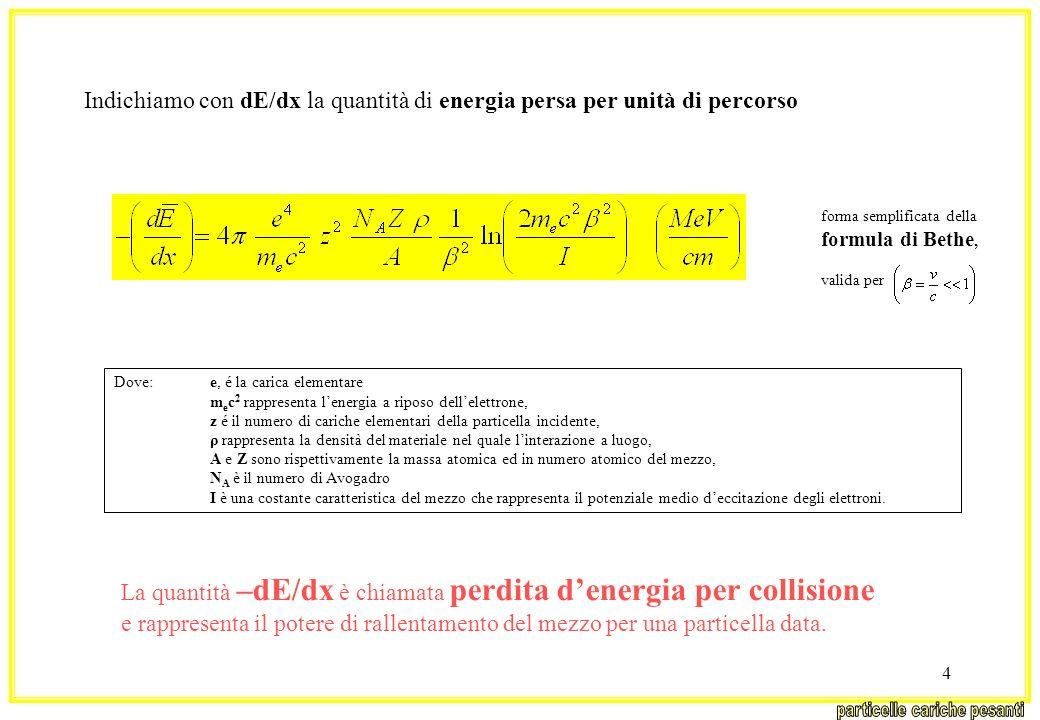4 Indichiamo con dE/dx la quantità di energia persa per unità di percorso Dove: e, é la carica elementare m e c 2 rappresenta lenergia a riposo dellel