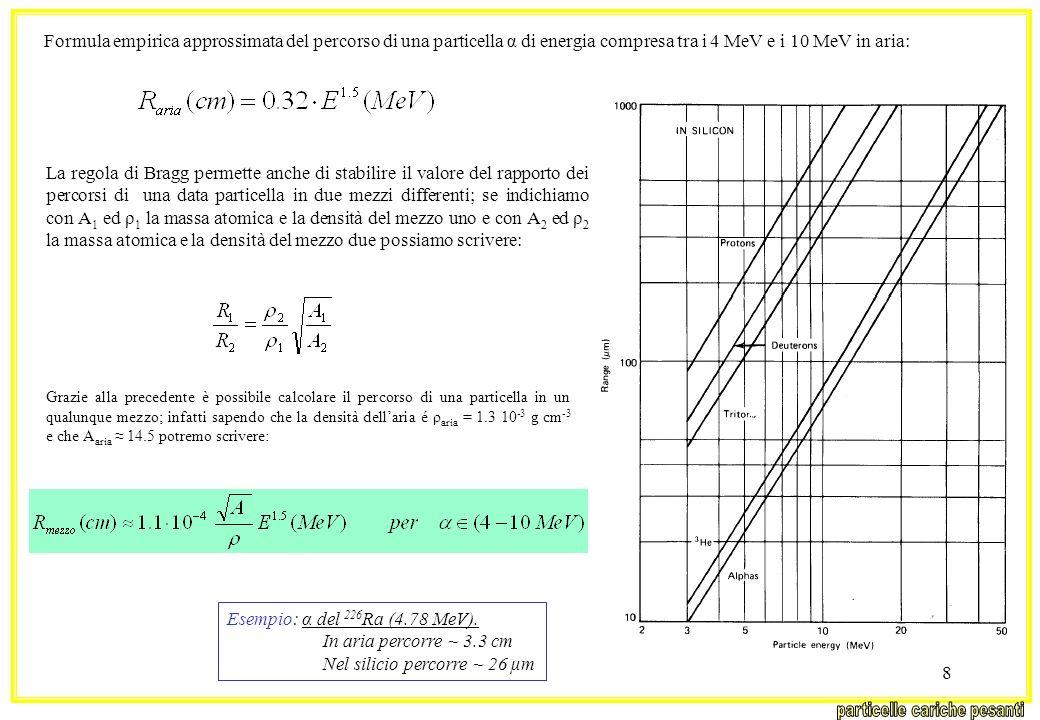 8 Formula empirica approssimata del percorso di una particella α di energia compresa tra i 4 MeV e i 10 MeV in aria: La regola di Bragg permette anche