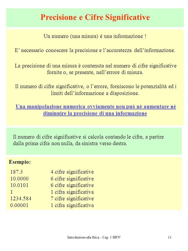 Introduzione alla fisica - Cap. 1 HRW14 Precisione e Cifre Significative Un numero (una misura) è una informazione ! E necessario conoscere la precisi