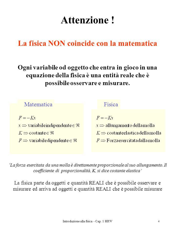 Introduzione alla fisica - Cap. 1 HRW4 Attenzione ! La fisica NON coincide con la matematica Ogni variabile od oggetto che entra in gioco in una equaz