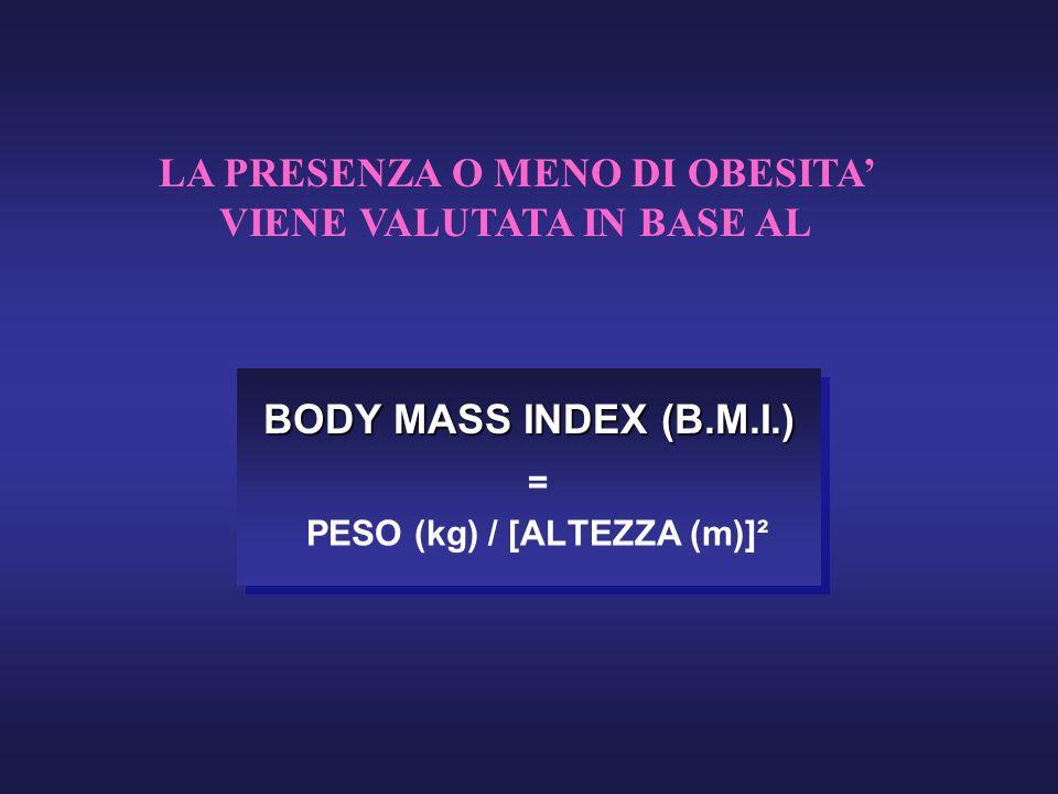 BODY MASS INDEX (B.M.I.) = PESO (kg) / [ALTEZZA (m)]² LA PRESENZA O MENO DI OBESITA VIENE VALUTATA IN BASE AL