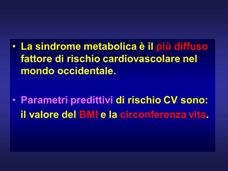 La sindrome metabolica è il più diffuso fattore di rischio cardiovascolare nel mondo occidentale. Parametri predittivi di rischio CV sono: il valore d