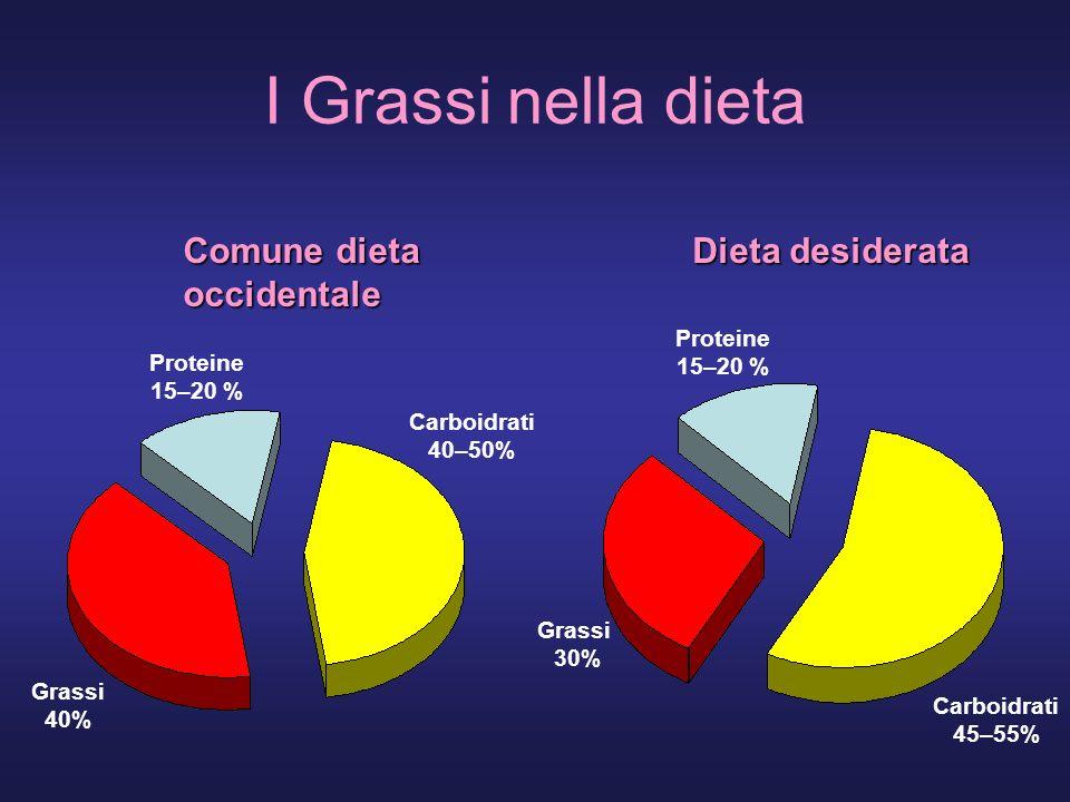 I Grassi nella dieta Comune dieta occidentale Carboidrati 40–50% Proteine 15–20 % Grassi 40% Dieta desiderata Carboidrati 45–55% Proteine 15–20 % Grassi 30%