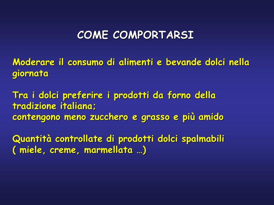 COME COMPORTARSI Moderare il consumo di alimenti e bevande dolci nella giornata Tra i dolci preferire i prodotti da forno della tradizione italiana; c