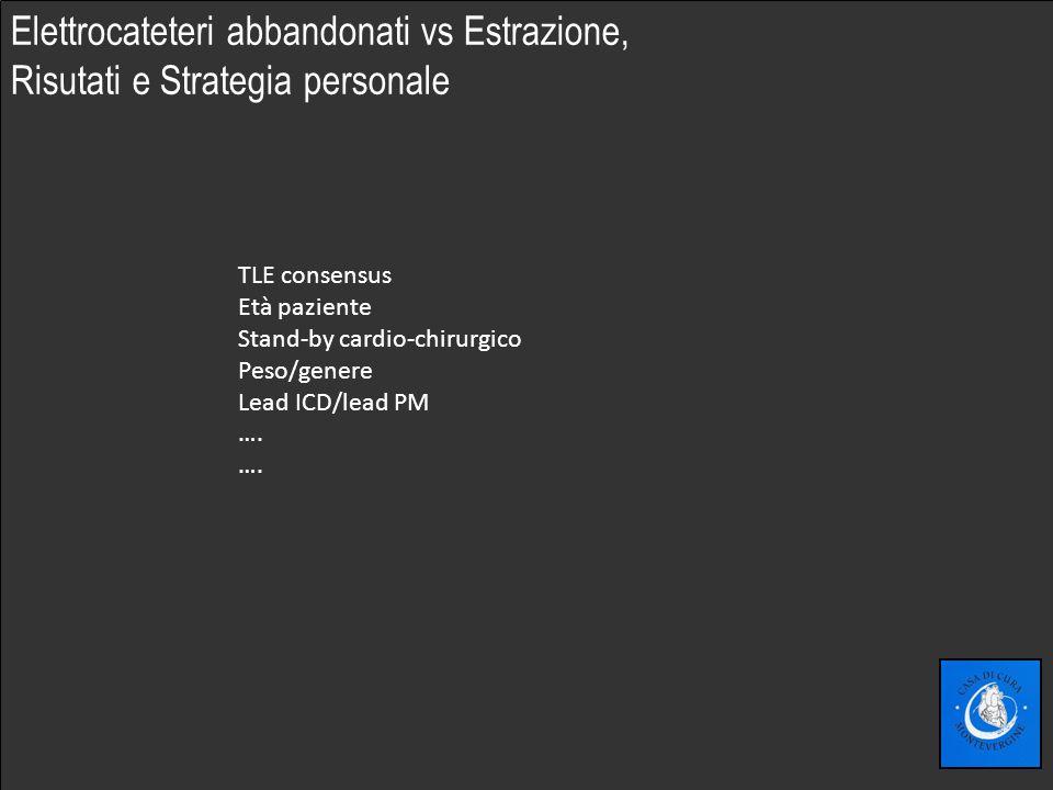Fare clic per modificare lo stile del sottotitolo dello schema Elettrocateteri abbandonati vs Estrazione, Risutati e Strategia personale TLE consensus