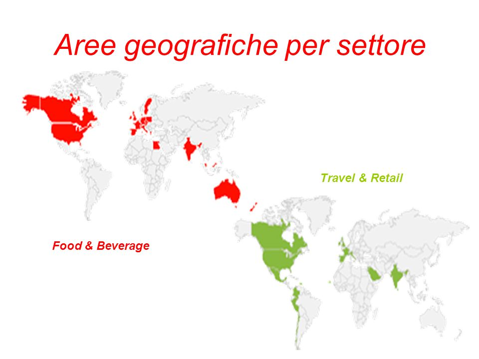 Aree geografiche per settore Food & Beverage Travel & Retail
