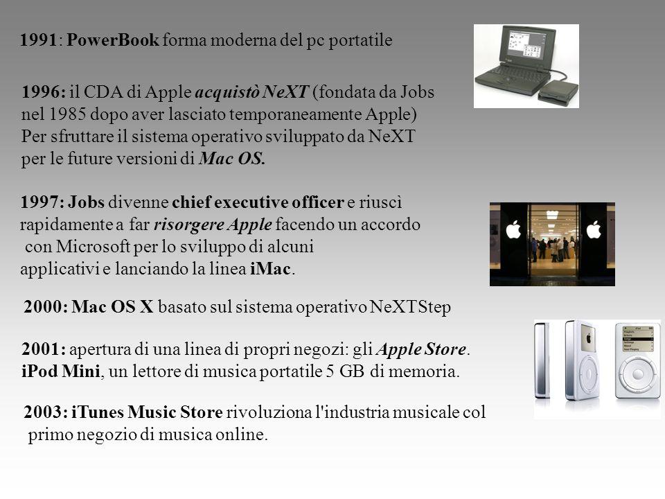 1991: PowerBook forma moderna del pc portatile 1996: il CDA di Apple acquistò NeXT (fondata da Jobs nel 1985 dopo aver lasciato temporaneamente Apple)