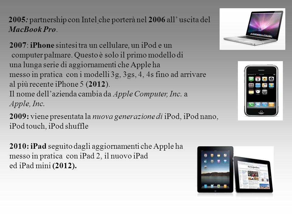 2005: partnership con Intel che porterà nel 2006 all uscita del MacBook Pro. 2007: iPhone sintesi tra un cellulare, un iPod e un computer palmare. Que