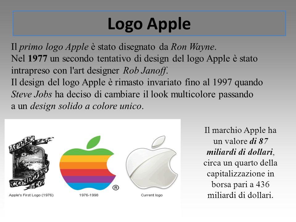 Logo Apple Il marchio Apple ha un valore di 87 miliardi di dollari, circa un quarto della capitalizzazione in borsa pari a 436 miliardi di dollari. Il